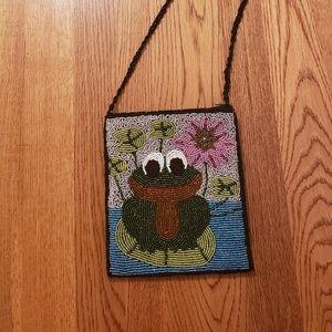 Ermo Beaded Frog Handbag Crossbody Mini Carryall